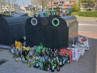 Glascontainers overvol het Lunenburgplein Dordrecht