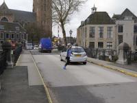 Tijdelijke brug Nieuwe Haven in gebruik Dordrecht