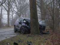 Auto frontaal tegen boom Provincialeweg Dordrecht Tstolk