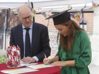 Diploma uitreiking Johan de Witt Gymnasium Dordrecht