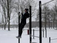 Sporten bij Leerpark tijdens de Sneeuw Dordrecht
