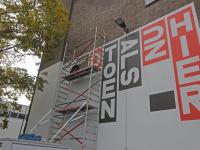 Muurschildering in de maak Energiehuis Dordrecht