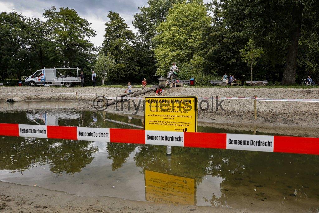 Waterspeelplek afgezet vanwege dode eenden Sterrenburgpark Dordrecht